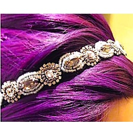 Eye Catching Diamante Beads Design On Elasticated Black Hair Band