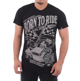 Eight Monday Rockabilly Men's T Shirt Born To Ride Custom Hot Rod Em20