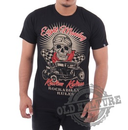 Eight Monday Rockabilly Men's Shirt Custom Cars Hot Rod Skull Rock Em04
