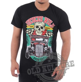 Eight Monday Rockabilly Men's Shirt Custom Cars Hot Rod Skull Rock Em16