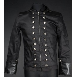 Black Military Jacket With Faux Leather Cuffs And Lapels $9 To Ship