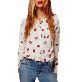 Pretty Floral White Cotton Shirt With Scarlet Red Lips Print Design Uk 8/10