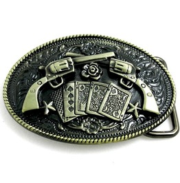 Guns N Roses Poker Cards Guns And Roses Bronze Metal Col Belt Buckle