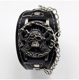 Pirate Skull Black Faux Leather Quartz Wrist Watch