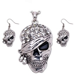 Gold/Silver Pirate Skull Punk Earrings And Necklace Set