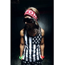 Men's Black/Red American Flag Sleeveless Tank Top