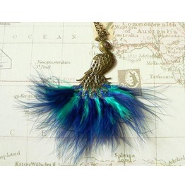 Steampunk Peacock Necklace With Blue & Green Feathers