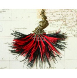 Steampunk Peacock Necklace With Red & Black Feathers