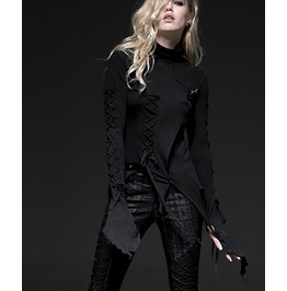 Black Punk Gothic Destroyed Long Sleeve Lace Up Blouse Shirt Top