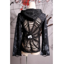 Black Punk Gothic Destroyed Spider Web Hoodie Top