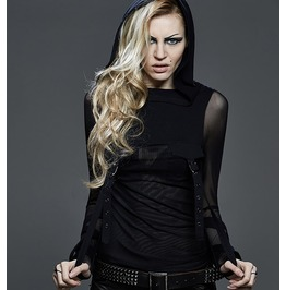 Sheer Black Gothic Long Sleeve Hoodie Top With Buckles