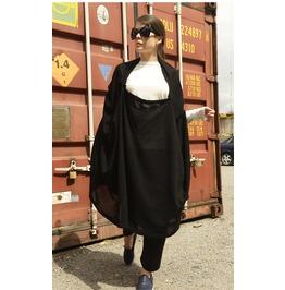 Oversize Black Asymmetrical Coat