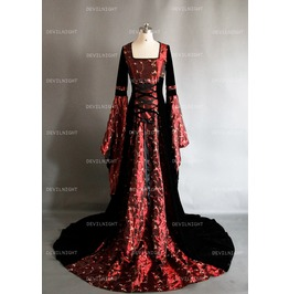 Fantasy Red And Black Velvet Celtic Medieval Gown