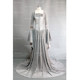 Sliver Velvet Celtic Mediveal Dress