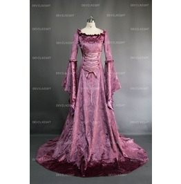 Purple Fantasy Velvet Medieval Gown