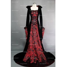 Black And Red Gothic Medieval Vampire Dress