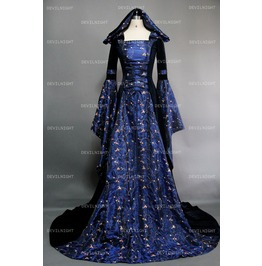Fantasy Blue Velvet Hooded Medieval Gown