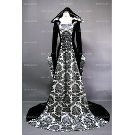White And Black Velvet Gothic Hooded Medieval Gown