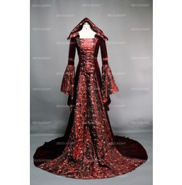 Fantasy Velvet Hooded Medieval Gown