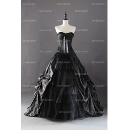 Black Gothic Corset Prom Ball Gowns D1 039