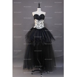Fashion Gothic Corset High Low Burlesque Prom Party Dress