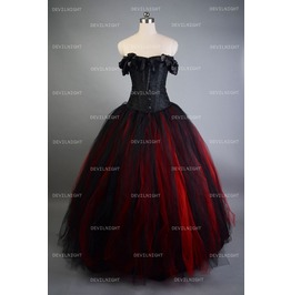 Romantic Black And Red Vintage Gothic Corset Long Prom Dress D1 033