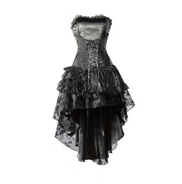 Black Corset High Low Layer Skirt Gothic Party Dress