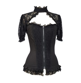 Black Sexy Short Lace Sleeves Corset Style Womens Gothic Tops