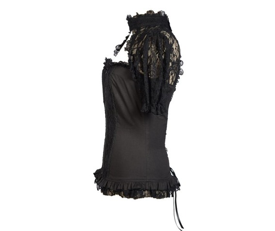 black_sexy_short_lace_sleeves_corset_style_womens_gothic_tops_shirts_4.jpg