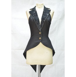 Black Tailcoat Style Gothic Waistcoat For Women