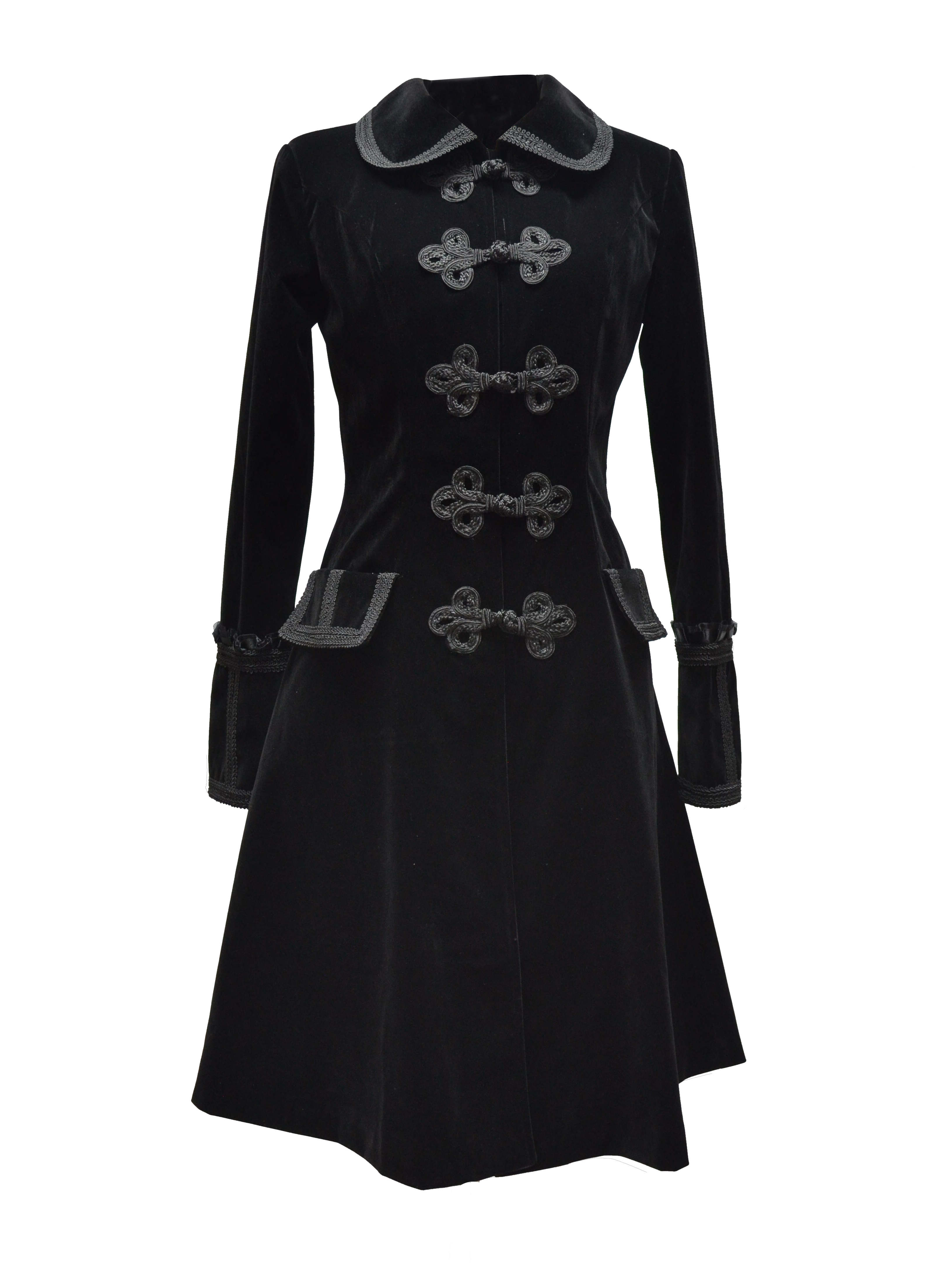 Black Chinese Style Gothic Long Coat For Women 96001