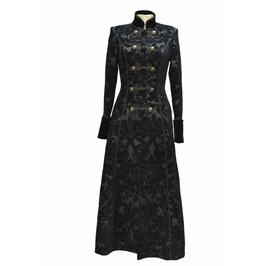 Black Printed Pattern Double Breasted Gothic Long Coat For Women