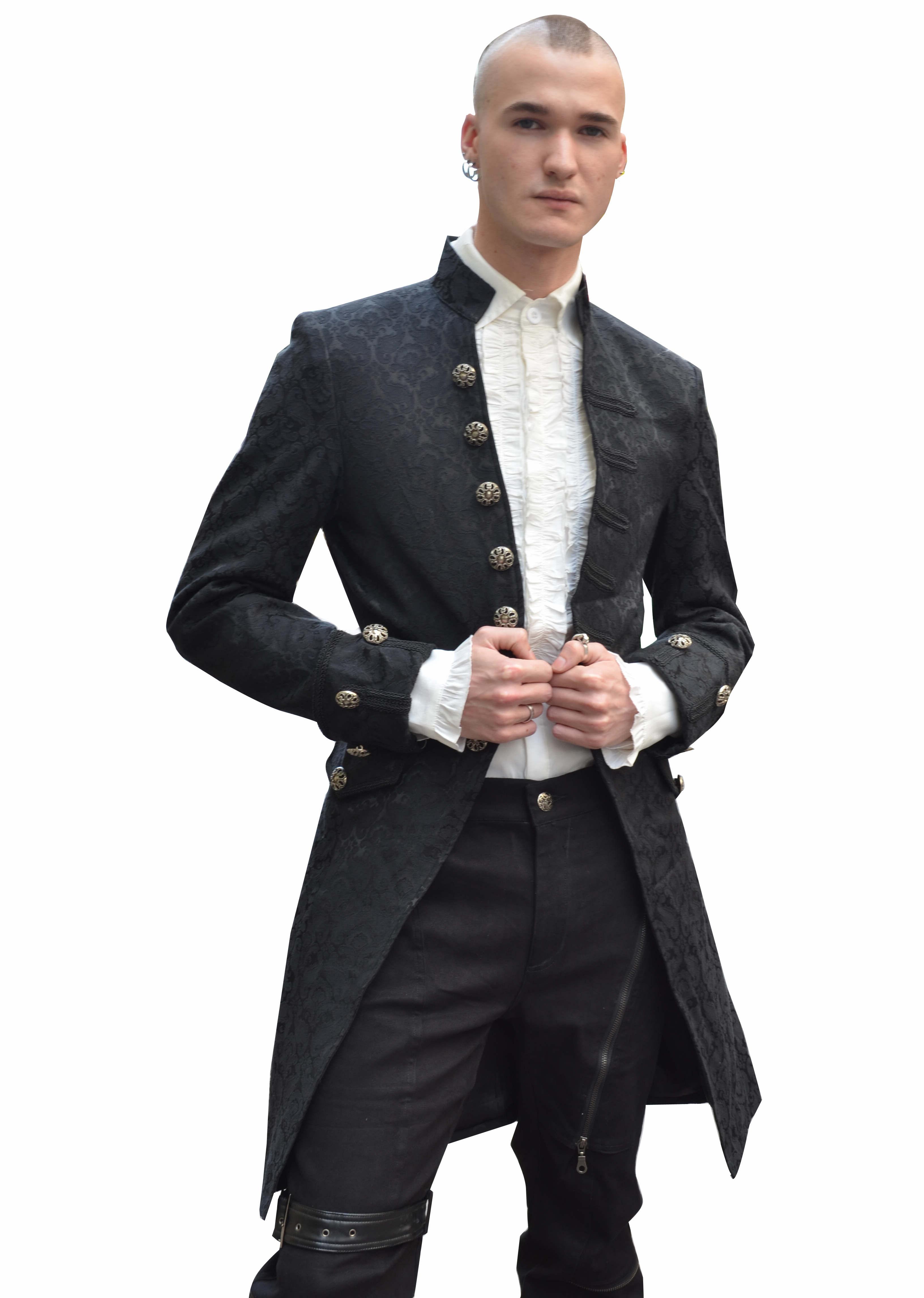 Black Alternative Pattern Gothic Coat For Men 96050