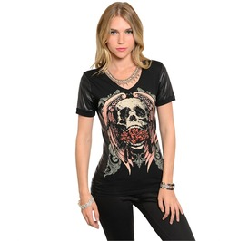 Skull & Rose Black Tee W/Leather Sleeves