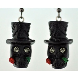 Black Skull Earrings W/Rose
