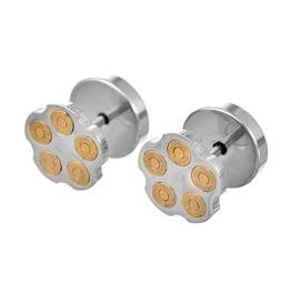 Barrel Gold Metal Bullet Barrel Shape Earrings
