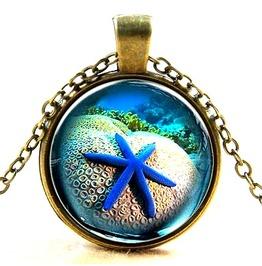 Cool! Electric Blue Starfish Glass Antique Bronze Metal Pendant