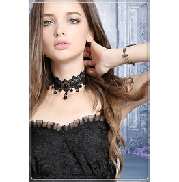 Ack118 Gothic Bead Adjustable Choker Necklace