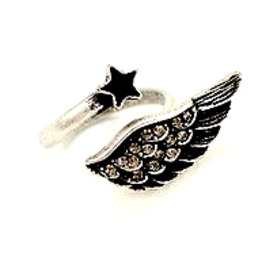 Eye Catching Black And Silver Wing And Star Design Ring Small Size