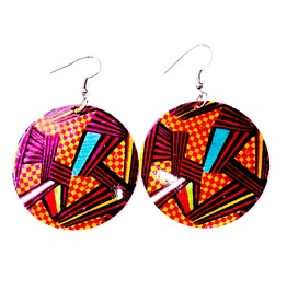 Nature Large Shell Earrings With Cartoon Comic Print Design