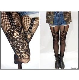 Thigh lace fishnet suspender