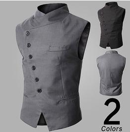 New Men Vest Male Tide Slim Suits Men's Black / Gray / Color