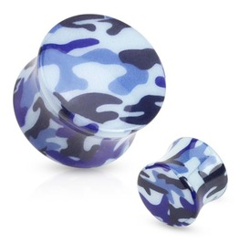 Blue Camouflage Printed Acrylic Saddle Fit Plug Pair 2 Ga