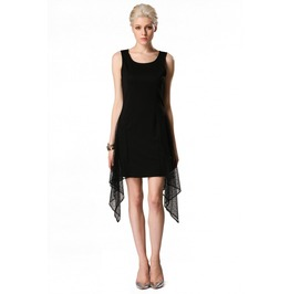 Sleeveless Mesh Patchwork Short Black Dress