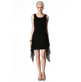 Sleeveless Mesh Patchwork Short Black Dress