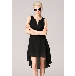 Slit Back Irregular Hem Black Dress