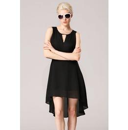 Slit Back Irregular Hem Black Dress