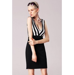 Sexy Deep Neck Line Black And White Striped Dress