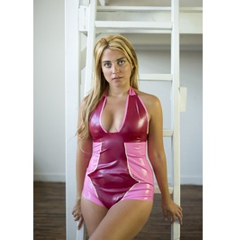 Pink Latex Swimsuit