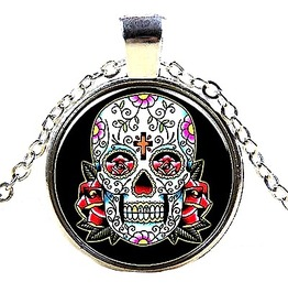 Striking Antique Silver Metal Sugar Skull Head Design Pendant